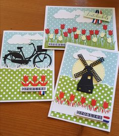 Easy Cards, 3d Cards, Dutch Tulip, Wind Of Change, Marianne Design, Stamping Up, Windmill, Snail, Making Ideas