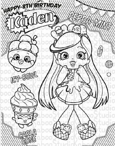 Print Bubbleisha Shopkins Shoppies With Bubble Gum Coloring Pages