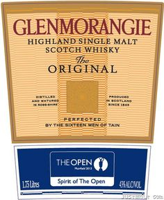 Glenmorganie - Highland Single Malt Scotch Whiskey - The Open 2013 Muirfield Scotch Whiskey, Whisky, Scotland, Irish, Food And Drink, Patterns, My Favorite Things, Drinks, Brown