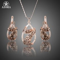 Richy-Glory 18K Gold Plated Austrian Crystal Cute Lovely Jewelry Sets