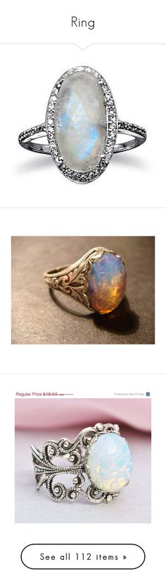 """Ring"" by sara598d on Polyvore featuring jewelry, rings, cz cocktail rings, sterling silver rings, sterling silver cocktail rings, cz rings, cocktail rings, filigree band ring, opal birthstone rings and glass rings"
