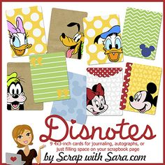 Disney Journaling Notecards Project Life Mickey Mouse