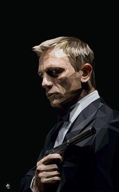 Daniel Craig on Behance Vector Portrait, Digital Portrait, Portrait Art, James Bond Movie Posters, James Bond Movies, Americana Tattoo, James Bond Party, Daniel Craig James Bond, Polygon Art