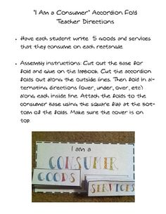 This is an activity from my Economy 101 Lapbook.  This activity is about being a consumer.  Find the entire lapbook here:http://www.teachersp...