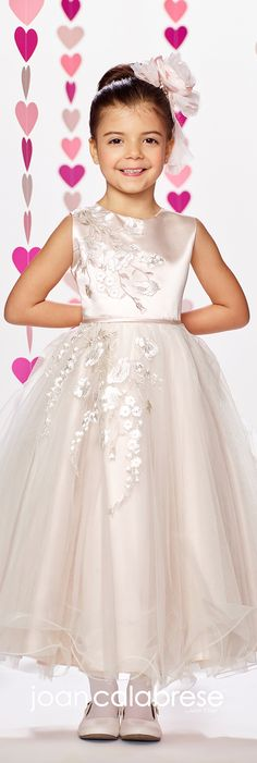 Joan Calabrese for Mon Cheri - Fall 2017 - Style No. 217386 - ivory/pink sleeveless satin and tulle tea-length flower girl dress with embroidery and lace appliques