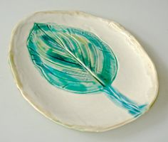 Serving Platter with hosta leaf emerald green by Clayshapes, $45.00