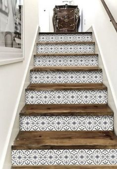 - Stairway Designs & Ideas - Stair Riser Vinyl Strips 15 steps Removable Sticker Peel & Stick : MarrakechGrey Decorative stair-riser is hot in the last home decor scene, we have it easy for you to lift your staircase in just a peel away. Tile Stairs, Basement Stairs, Open Basement, Basement Ideas, Stairs Tiles Design, Laminate Stairs, Easy Home Decor, Stairways, Home Projects