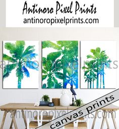 Watercolor California Tropical Palm Trees Set Includes 3 Wall Art Print onto Canvas Size 16x20 222753297 — Antinoro Pixel Prints
