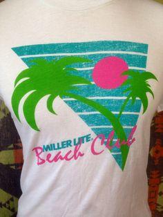 1980's Miller Lite Beach Club t shirt usa by littleshopofmatthews, $15.00