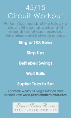 Full-body circuit workout. Requires pull-up bar, rings, box, med ball, and kettlebell.