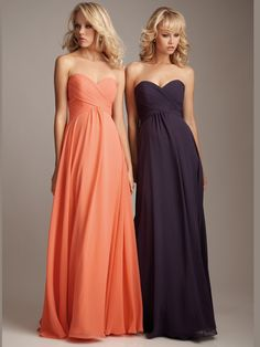 Fabulous bridesmaids dress by Allure 1221. This chiffon bridesmaids dress features a strapless sweetheart neckline with ruched criss cross bodice, empire waistline and a flowing A-line skirt. Wear this amazing gown and you will be the envy of the evening.