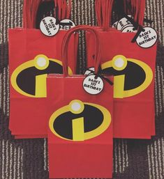 Incredibles kids birthday party favor bags and decorations. Check out these party favor bags! We do all characters, if you don't see a theme or character specific item on our etsy store just send us a message! We customize everything to your party 6th Birthday Parties, Third Birthday, Birthday Party Favors, Birthday Party Decorations, Incredibles Birthday Party, Party Favor Bags, Loot Bags, Favor Boxes, Favor Tags