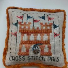 sand castle cross stitch pillow ornament