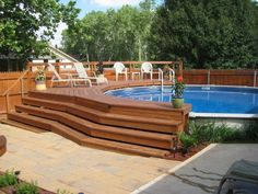 small deck around above ground pool - Google Search