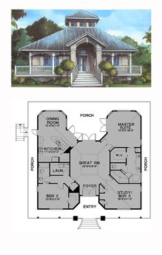 Florida Style COOL House Plan ID: chp-24538 | Total Living Area: 1789 sq. ft., 3 bedrooms and 2 bathrooms. #floridahome
