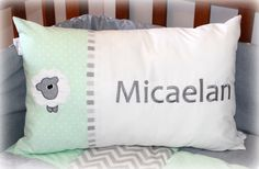 """Personalized Cushion with Name Micaelan in grey & mint. """"Sweet Sheep"""" linen range, designed by Tula-tu Baby Linen (South Africa). Size x Personalised Cushions, Baby Decor, Cot, Baby Room, South Africa, Sheep, Nursery, Range, Throw Pillows"""