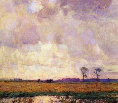 William Langson Lathrop, Plowing Along the Canal, 1915 Last Landscape of William Langson Lathrop