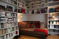 Great bed/reading nook for a studio or library room.