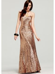 Faviana Dresses: Full Length Strapless Sequin Gown With Train: Sparkly strapless dress by Faviana 6801 has a fitted bodice with modest neckline. The long skirt flares into a train at the floor.