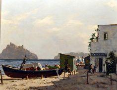Conte Aldo (Napoli 1948 - 1982) Ischia - Castello Aragonese olio su tavola, cm 40x50