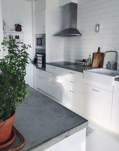 Kitchen, concrete countertop