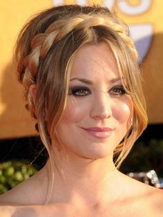 Kaley Cuoco Long hairstyles with bangs, braided crown
