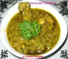 Dhaniya Chicken (Chicken With Coriander Sauce) ~ Cuisine delights
