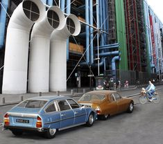 The Centre Pompidou and two of the most desirable 1970s french cars, the Citroen CX and SM.
