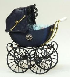 Miniature Dolls house Heidi Ott blue Luxurious scale dolls house Victorian carriage style pram perambulator in a deep blue It features moving wheels and leather collapsable hood Baby Kind, Pram Stroller, Baby Strollers, Best Prams, Gothic Baby, Style Anglais, Vintage Pram, Prams And Pushchairs, Beach House Decor