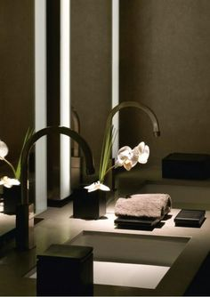 Armani Hotel Dubai - great sinks and spa-like feel
