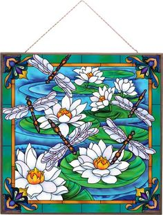 Art Panels-APM104R-Dragonfly/Water Lilies - Dragonfly/Water Lilies