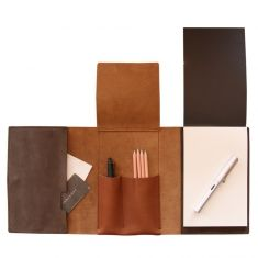 Leather notepad case is an all purpose stationery case with room for pens, maps, passports and notes. With the belt on the front of the leather cover, you . Leather Notepad, Leather Notebook, Leather Books, Leather Wallet, Leather Bag, Leather Portfolio, Leather Projects, Small Leather Goods, Leather Design