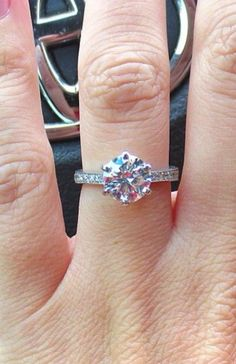 Real Ritani Engagement Rings - Round Cut Diamond in a French-set band | #RitaniPinterest
