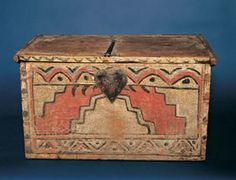 Late 1700s or early 1800s  painted pine chest with a heart escutcheon? from New Mexico.