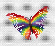 ***Two different patterns are included in this listing***  Easy cross stitch patterns of a magical rainbow and a rainbow butterfly. These are small patterns which would be perfect for cards, for a motif on an item of clothing, or a quick little framed present. Both designs are included in the purchase.  Rainbow details: • Stitch count: 40 wide x 26 high • Approximate size on 14 count aida: 2.9in wide x 1.9in high (7.3cm wide x 4.7cm high) • 10 colours, DMC numbers given (12 colours for both…