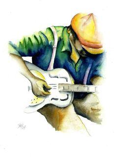 Delta Blues Man Art Print  Dobro Resonator by BrandyKayzakianRowe, $20.00
