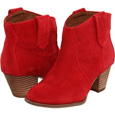 How could you not have a happy day in these fire-engine-red suede booties? (Aldo, $100)