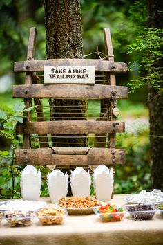 Camp Theme Party w/Take a Hike Trail Mix Bar. Camp Theme Party w/Take a Hike Trail Mix Bar. First Birthday Parties, Birthday Party Themes, Boy Birthday, First Birthdays, Birthday Ideas, Boy Theme Party, Backyard Birthday, Birthday Games, Engagement Party Decorations