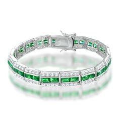 Bling Jewelry Round CZ Baguette Green Emerald Color Tennis Bracelet 7.5 in. -