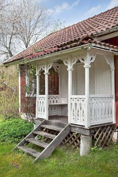 a cottage someday. Cottage Porch, Cute Cottage, Red Cottage, Cottage Exterior, Cottage Homes, Cottage Style, Small Cottages, Cabins And Cottages, This Old House