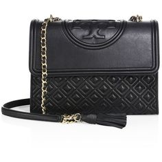 Tory Burch Fleming Quilted Leather Shoulder Bag ($515) ❤ liked on Polyvore featuring bags, handbags, shoulder bags, apparel & accessories, black, shoulder handbags, woven purse, chain strap handbag, tory burch and chain handbags