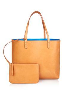 Large blue-lined leather tote | Mansur Gavriel | MATCHESFASHION.COM