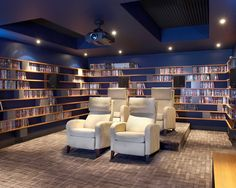 Cool DVD Storage Ideas: Modern Small Home Theater With DVD Movie Shelves Around The Room ~ sabpa.com Cabinet Inspiration