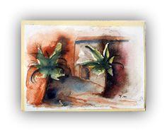 Grußkarte - Sammlerkarte - handgemalt - Aquarell - Unikat - Marokko und Palmen - 10,5x15 cm - inkl. Briefumschlag und Inlay - 15% Rabatt von ArtRuthTrinczek auf Etsy