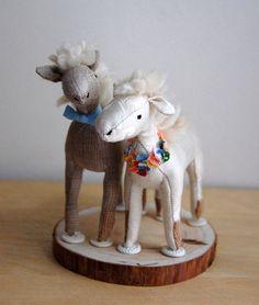 Cute stuffed animal horses wedding cake topper by Sian Keegan via JunebugWeddings.com