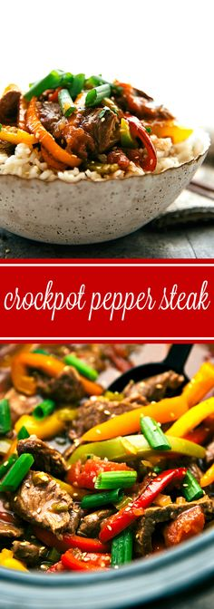 Delicious and simple crockpot pepper steak -- ultra tender meat from slow cooking all day! Delicious and simple crockpot pepper steak -- ultra tender meat from slow cooking all day! Crock Pot Food, Crockpot Dishes, Crock Pot Slow Cooker, Slow Cooker Recipes, Cooking Recipes, Healthy Recipes, Crockpot Steak Recipes, Crockpot Stir Fry, Slow Cooker Steak