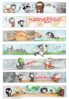 Harry Potter watercolor by Katie Cook, awesome except 3 and 4 are out of order
