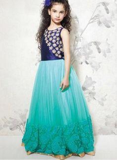 New Blue & Aqua Banglori Silk & Soft Net Designer Gown @Rs.1699 #Fancy #Latest #Gorgeous #Designer #Kids #Gown