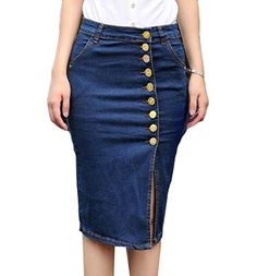 00ea1a8c6319e0 Agoodic Womens High Waist Breasted Bodycon Denim Skirt Dark blue XL *  Continue reading at the image link.