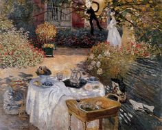 The Lunch Created by Claude Monet in 1873. This picture shows the first house in which Monet's family lived in Argenteuil. In the foreground stands a a bench, a side-table, and the breakfast table. Jean, the young son of Camille and Claude Monet, is playing in the shade by the table. The child's nanny is in the background, and is keeping close watch over him. Location:	Private Collection